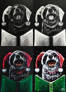 Detail Image for art Canine Caroler  (SOLD)