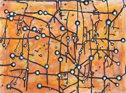 Art: Sky Tunnels (orange) by Artist Wendy L. Gonick