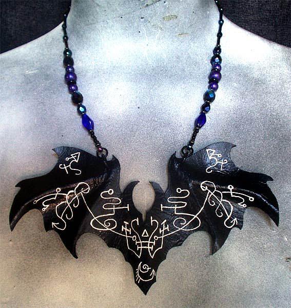 Art: Gypsy Witchery Bat Necklace by Artist Barbara Doherty (MidnightZodiac Leather)