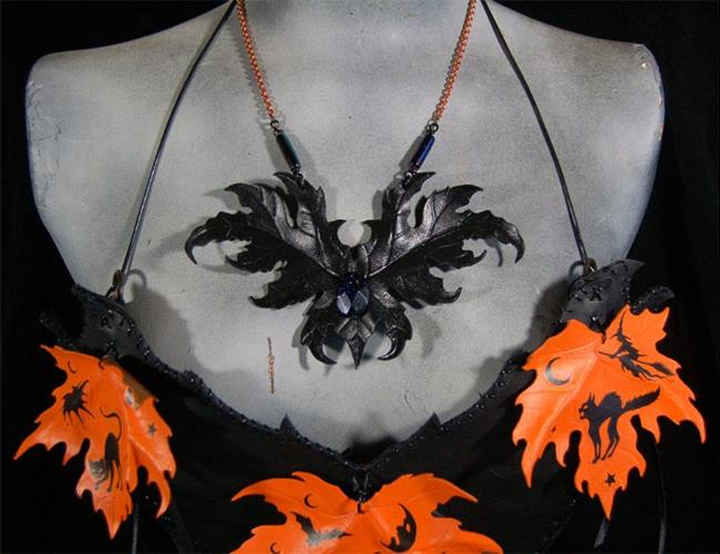 Art: Pumpkin Leaf Bat Necklace by Artist Barbara Doherty (MidnightZodiac Leather)