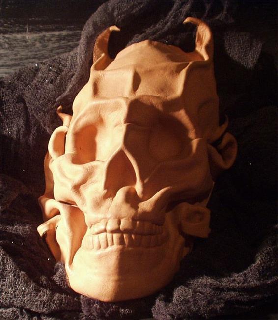 Art: Horned Leather Skull by Artist Barbara Doherty (MidnightZodiac Leather)