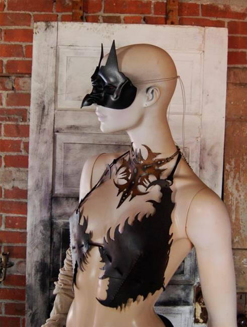 Art: leather mask - Owl Witch  by Artist Barbara Doherty (MidnightZodiac Leather)