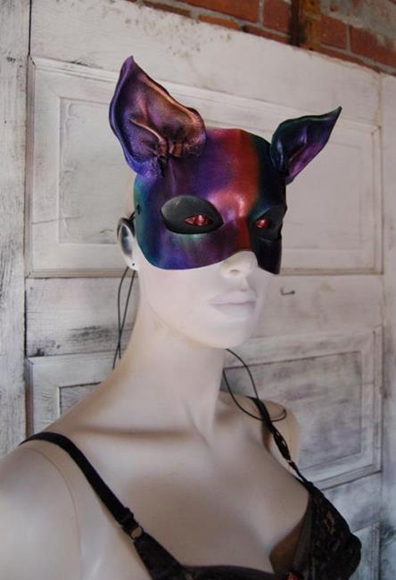 Art: Rainbow leather cat mask by Artist Barbara Doherty (MidnightZodiac Leather)