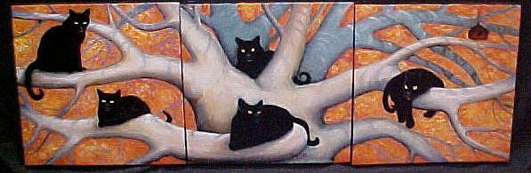 Art: Autumn Cats by Artist Rosemary Margaret Daunis