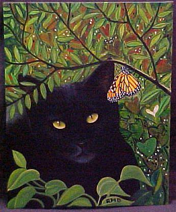 Art: BLACKIE AND THE BUTTERFLY by Artist Rosemary Margaret Daunis