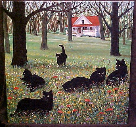 Art: COUNTRY CATS II by Artist Rosemary Margaret Daunis