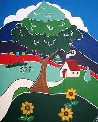 Art: Summer Cottage under a Giant Oak by Artist Charlene Murray Zatloukal