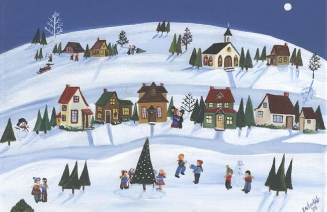 Art: Snowy Village-SOLD by Artist Charlene Murray Zatloukal