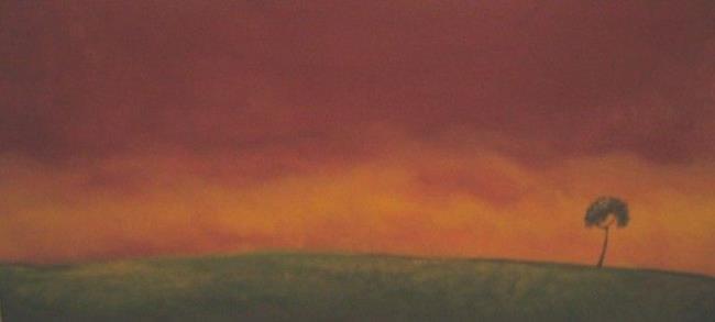 Art: Lone Tree on Prairie at Sunset- SOLD by Artist Charlene Murray Zatloukal