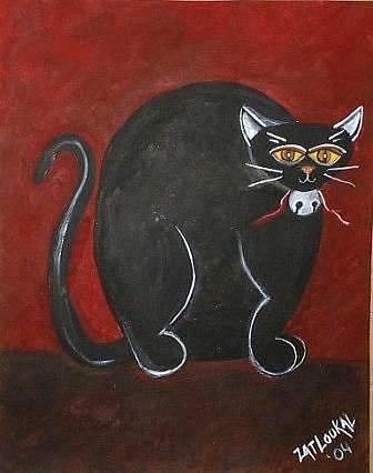 Art: Fat Cat-Licorce- SOLD by Artist Charlene Murray Zatloukal