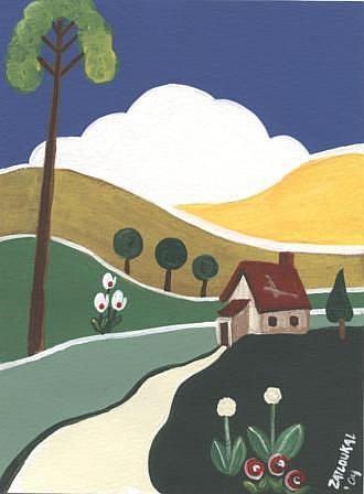 Art: Folk Art Deco CottageArtist-  Charlene Zatloukal by Artist Charlene Murray Zatloukal