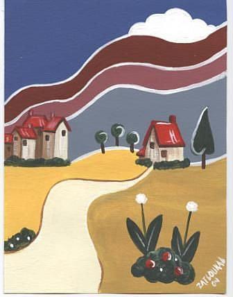 Art: Art Deco Village-SOLD by Artist Charlene Murray Zatloukal