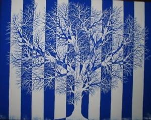 Detail Image for art Tree in Blue and White -SOLD