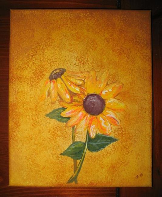 Art: Two Sunflowers-SOLD by Artist Charlene Murray Zatloukal