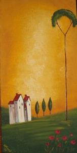 Detail Image for art Tuscan Villa with Poppies- SOLD