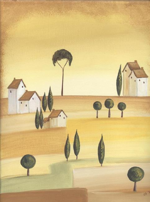 Art: Tuscan Villas on Golden Hills II by Artist Charlene Murray Zatloukal