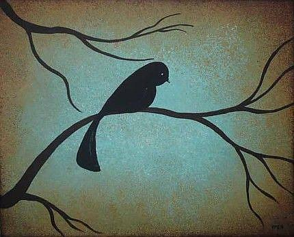 Art: Blackbird on Branch by Artist Charlene Murray Zatloukal