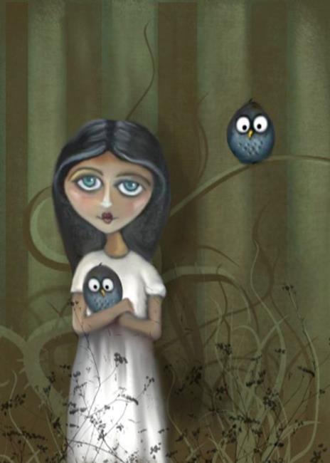 Art: She Loves Her Owls by Artist Charlene Murray Zatloukal