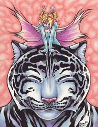 Art: Faerie Hugs: White Tiger by Artist Erika