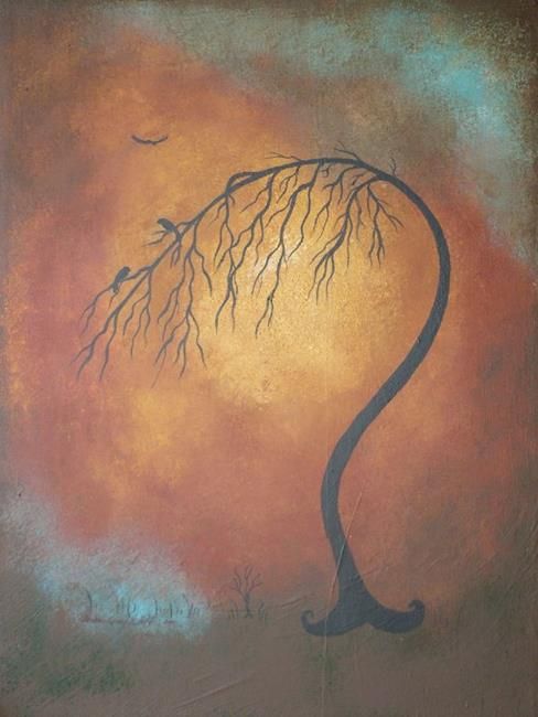 Art: Two Blackbirds in a Tree by Artist Charlene Murray Zatloukal