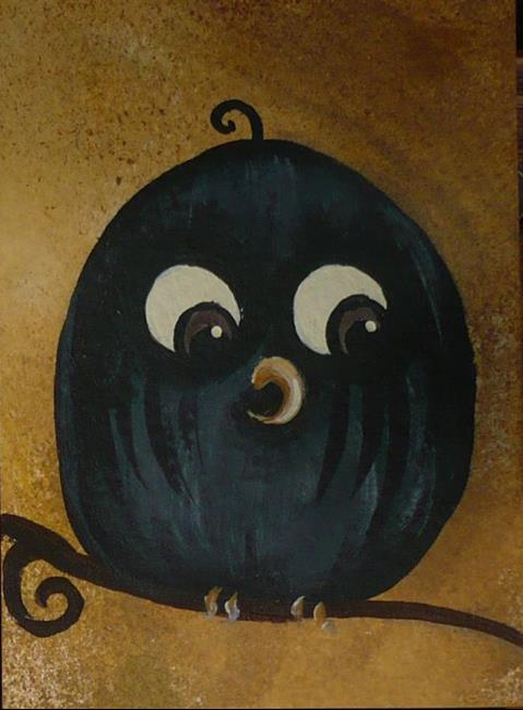 Art: Owl on a Branch by Artist Charlene Murray Zatloukal