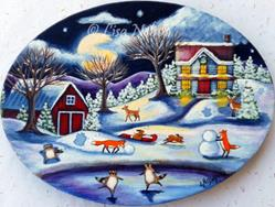 Art: Christmas Eve Wildlife Fun! by Artist Lisa M. Nelson