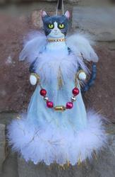 Art: Tuxedo Cat Christmas Angel Cloth Art Doll by Artist Lisa M. Nelson