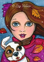 Art: The Arrival of Winter ACEO by Artist Lisa M. Nelson