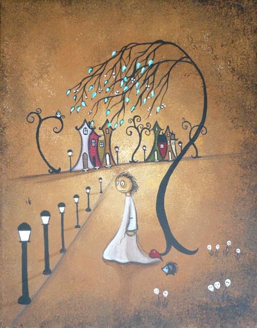 Art: Village Lights by Artist Charlene Murray Zatloukal