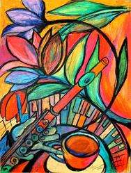 Art: Flute and Flowers by Artist Chris Jeanguenat