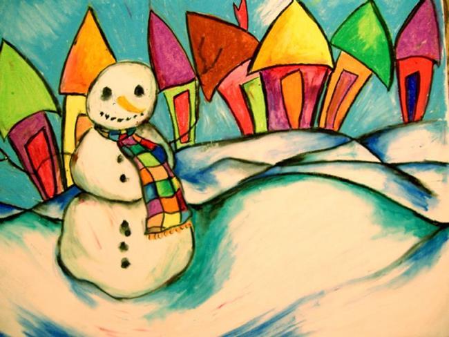 Art: Snowman In A Scarf by Artist Chris Jeanguenat