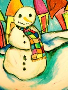 Detail Image for art Snowman In A Scarf
