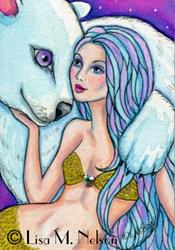 Art: Arctic Mermaid and Polar Bear ACEO Illustration Fantasy Art by Artist Lisa M. Nelson