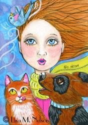 Art: Spring Breeze Whimsical Folk Art ACEO by Artist Lisa M. Nelson