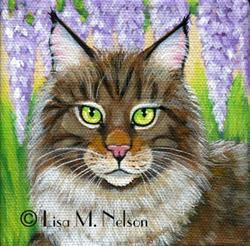 Art: Maine Coon Cat in Wisteria Painting by Artist Lisa M. Nelson