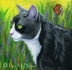 Art: Tuxedo Cat in Lavender Field by Artist Lisa M. Nelson