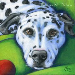 Art: Dalmatian Dog and Red Ball Painting by Artist Lisa M. Nelson