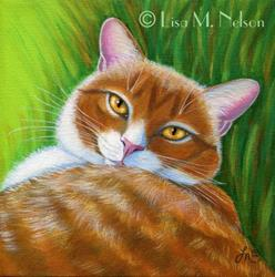 Art: Tabby Cat Painting by Artist Lisa M. Nelson
