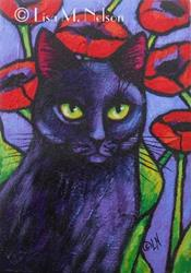 Art: Black Cat Red Flowers Gritty Acrylic Painting by Artist Lisa M. Nelson