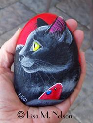 Art: The Great Hunter Black Cat & Mouse on River Rock by Artist Lisa M. Nelson