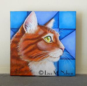 Detail Image for art Orange Tabby Cat with Blue Quilt