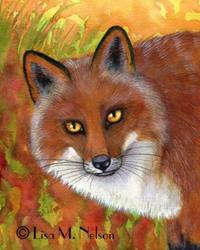 Art: Red Fox Wildlife Painting by Artist Lisa M. Nelson
