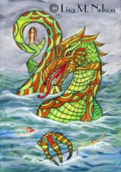 Art: The Mermaid's Revenge Sea Monster Illustration by Artist Lisa M. Nelson