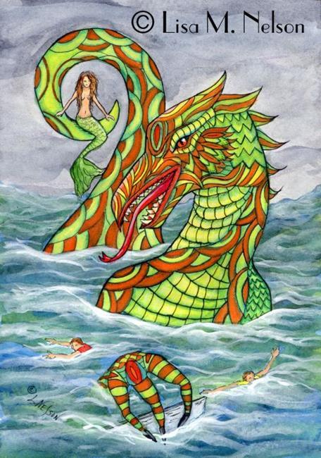 Art: The Mermaid's Revenge Sea Monster Illustration by Artist Lisa M. Nelson