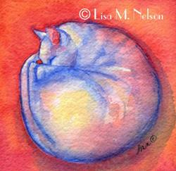 Art: Sleeping White Cat by Artist Lisa M. Nelson