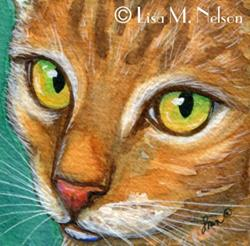 Art: Tabby Cat Portrait Face by Artist Lisa M. Nelson