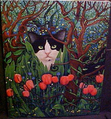 Art: MYSTIC GARDEN CATS by Artist Rosemary Margaret Daunis