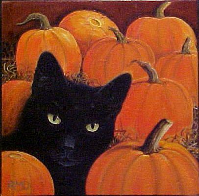 Art: PUMPKIN CAT by Artist Rosemary Margaret Daunis