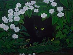 Art: HIDEAWAY CAT by Artist Rosemary Margaret Daunis