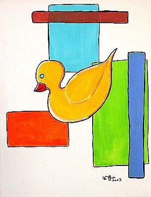 Art: Retro Duckie in Funky Motion by Artist Victor McGhee